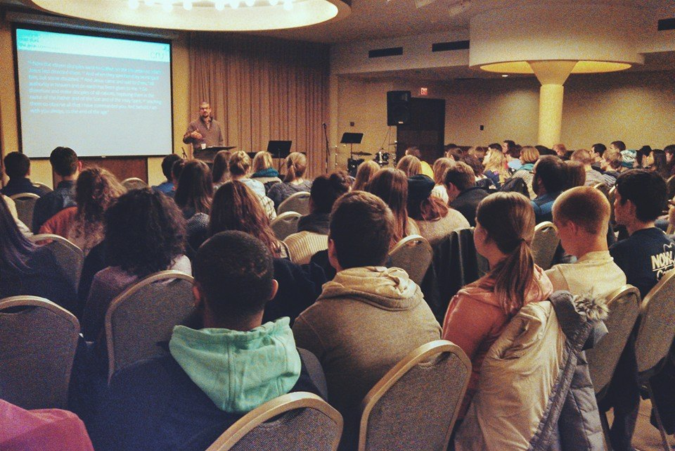 Large campus ministry meeting